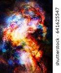 goddess woman in cosmic space.... | Shutterstock . vector #641625547