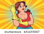 woman in rubber gloves cleaning | Shutterstock .eps vector #641655007