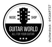 guitar world logo with guitars... | Shutterstock .eps vector #641669737