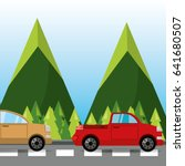 car and truck over rood with... | Shutterstock .eps vector #641680507