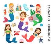 mermaids characters set. cute... | Shutterstock . vector #641696413