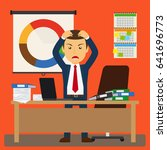 businessman stress at work.... | Shutterstock . vector #641696773