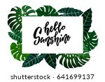frame with green tropical... | Shutterstock .eps vector #641699137