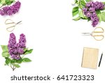 lilac flowers  diary notebook ...   Shutterstock . vector #641723323