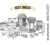 vector hand drawn snack and... | Shutterstock .eps vector #641731357