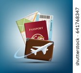 passport with ticket and map.... | Shutterstock . vector #641768347