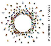 A lot of people stand in a circle on a white background. Vector illustration | Shutterstock vector #641772313