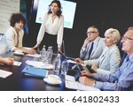 business woman leading over... | Shutterstock . vector #641802433