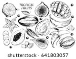 vector hand drawn exotic fruits.... | Shutterstock .eps vector #641803057