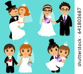 bride and groom  cartoon set... | Shutterstock .eps vector #641803687