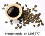 pumpkin seed oil and pumpkin... | Shutterstock . vector #641805877