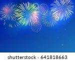 colorful fireworks vector on... | Shutterstock .eps vector #641818663