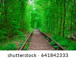 a railway in the spring forest... | Shutterstock . vector #641842333