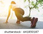 breathless sportswoman athletic ... | Shutterstock . vector #641850187