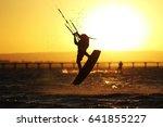 kiteboarder sportsman under...   Shutterstock . vector #641855227