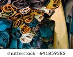 pile cow leather craft roll up... | Shutterstock . vector #641859283