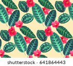 tropical flowers and leaves... | Shutterstock .eps vector #641864443