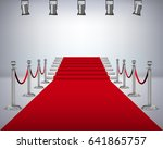 red carpet with white stair | Shutterstock .eps vector #641865757