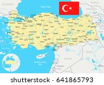 turkey map and flag   highly... | Shutterstock .eps vector #641865793