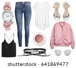 set of stylish clothes ... | Shutterstock . vector #641869477