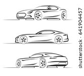 set of sports car silhouettes ... | Shutterstock . vector #641904457