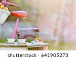two cups of tea  book and pink... | Shutterstock . vector #641905273