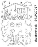 hand drawn stylized tree house... | Shutterstock . vector #641927017