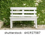 vintage wooden white bench with ... | Shutterstock . vector #641927587