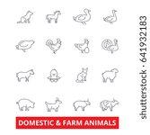 domestic farm animals line... | Shutterstock .eps vector #641932183