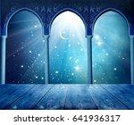 islamic greeting eid mubarak... | Shutterstock . vector #641936317
