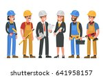 construction workers team.  | Shutterstock . vector #641958157