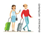 couple with suitcases traveling.... | Shutterstock .eps vector #641964643