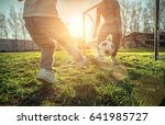 father and son playing together ... | Shutterstock . vector #641985727