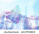 double exposure of hand giving... | Shutterstock . vector #641993803