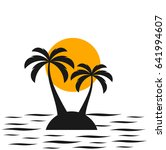 two palm trees on the island.... | Shutterstock .eps vector #641994607