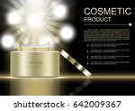 opened gold cosmetic jar with... | Shutterstock .eps vector #642009367
