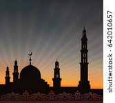background with a mosque and a... | Shutterstock .eps vector #642010657
