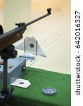 Small photo of Air gun and target on counter in shooting range