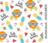summer pattern with lion and... | Shutterstock .eps vector #642018853