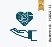 hand and electron heart icon... | Shutterstock .eps vector #642028453