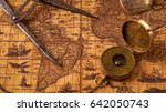 old vintage retro compass on... | Shutterstock . vector #642050743