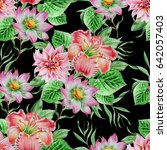 seamless pattern with flowers.... | Shutterstock . vector #642057403