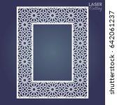 laser cut paper lace frame ... | Shutterstock .eps vector #642061237