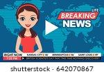 tv breaking news female in red... | Shutterstock .eps vector #642070867