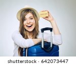 smiling woman holding credit... | Shutterstock . vector #642073447