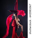 Small photo of The woman is engaged in aerial acrobatics on a dark background.