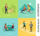 disabled people square concept... | Shutterstock .eps vector #642085843