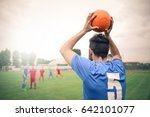 soccer player throwing the ball ... | Shutterstock . vector #642101077
