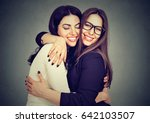 best friends two women hugging... | Shutterstock . vector #642103507