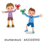 children playing in hand... | Shutterstock .eps vector #642103543